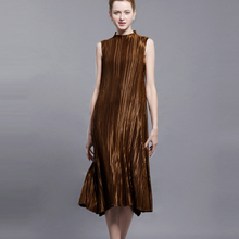 Changpleat Summer Dress Metallic Luster Design Miyake Pleated Stand collar Sleeveless Dresses For Women Black Big Swing Dress