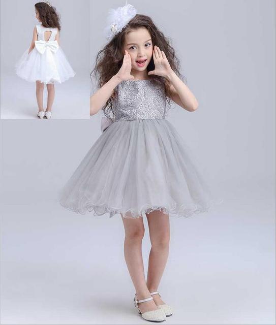 Grau Weiß Mädchen Geburtstag Hochzeit Formales Blume Mädchen Kleider ...