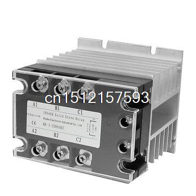 DC-AC 40A 5-32VDC/ 380VAC 3 Phase SSR Solid State Relay w Heat Sink Vducx dc to ac solid state relay ssr 40a 3 32vdc 90 480vac w aluminum heat sink