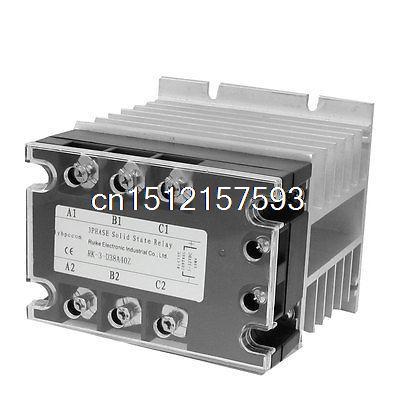 цена на DC-AC 40A 5-32VDC/ 380VAC 3 Phase SSR Solid State Relay w Heat Sink Vducx