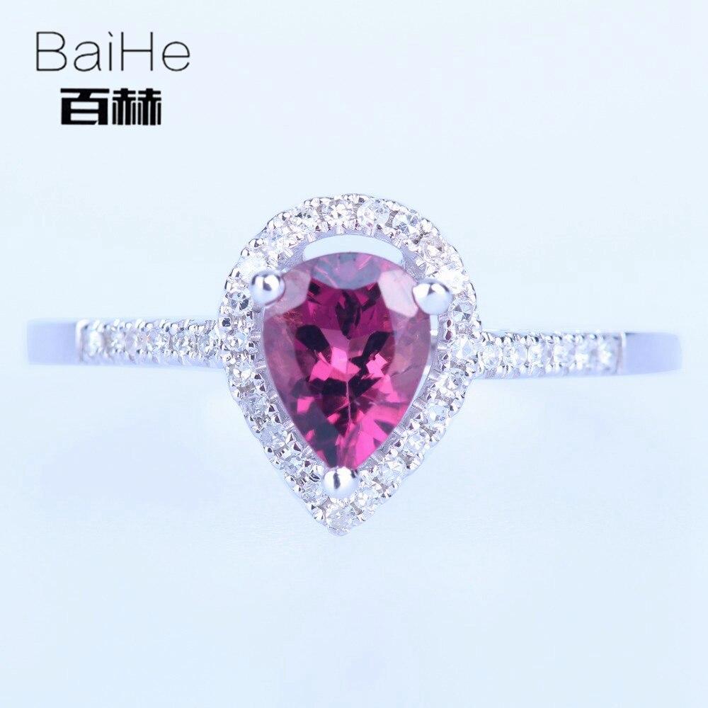 BAIHE Стерлинговое Серебро 925 0.593ct Сертифицированный темно розовый безупречный груша подлинный Турмалин помолвка женские модные ювелирные из