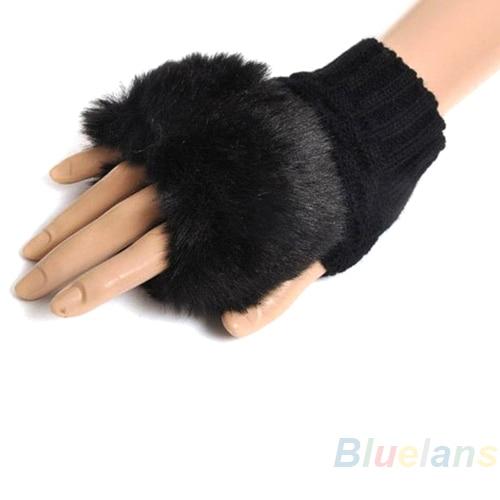Bluelans Winter Wrist Arm Hand Warmer Plush Gloves Embroidery Half Hand Fingerless Gloves