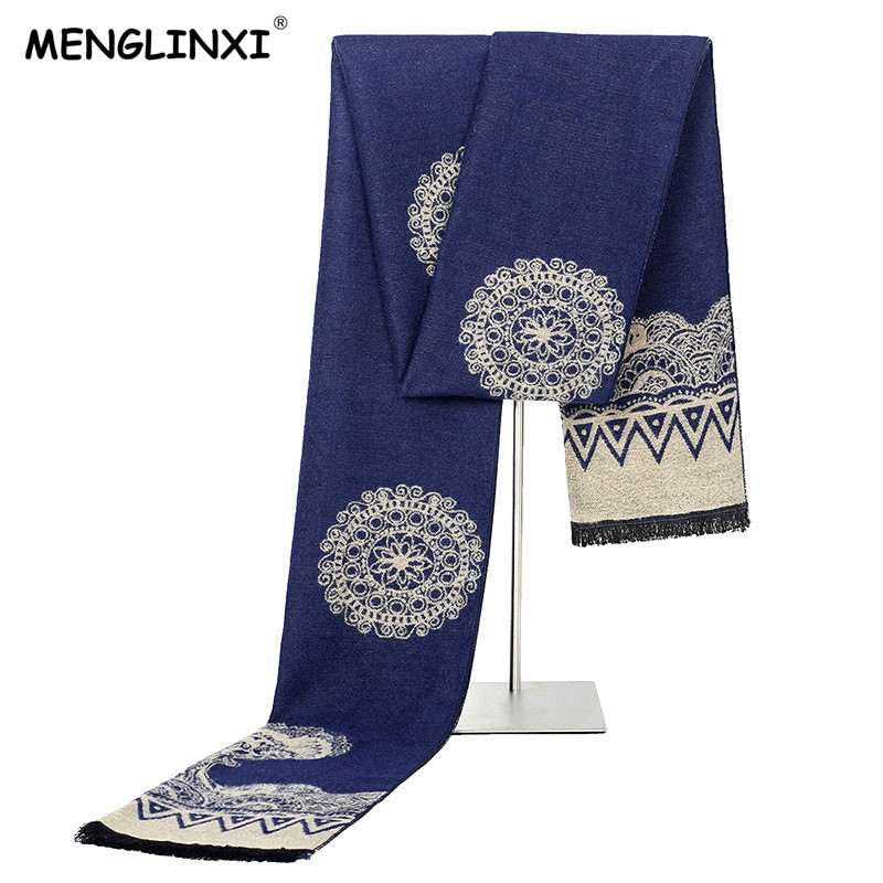 MENGLINXI 2019 New Design Men Winter Scarf Luxury Brand Scarf Men Warm Cashmere Scarf Fashion Shawl Male Casual Scarves