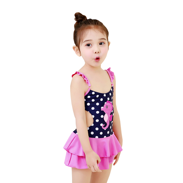 bd2aa44fede 2017 Girl's Dress Swimwear One Piece Dot Swimsuit Children Kinder Kids Cute Swimming  Wear Bathing Suits