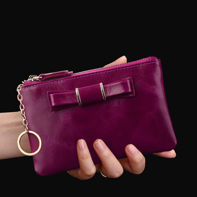 Women Car Key Wallet Genuine Leather Lovely Mini Key Wallet Small Zipper Key Holder Women Leather Coin Bag Zero Purse