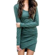 Spring 2018 women o neck dress Slim long-sleeved irregular solid dresses clothes Sexy Casual long sleeve short dress women