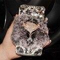 TOP Diamante Flip Caso de Couro Genuíno Real Rex Rabbit Fur Cabelo Coque Para htc 10 um a9 x9 728 825 828 628 626 830 530 capa Funda