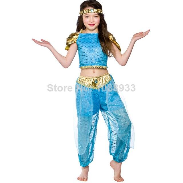 Princess Jasmine Costume kids halloween costumes for kids Aladdinu0027s fairy tale child Genie cosplay costume for  sc 1 st  AliExpress.com & Princess Jasmine Costume kids halloween costumes for kids Aladdinu0027s ...