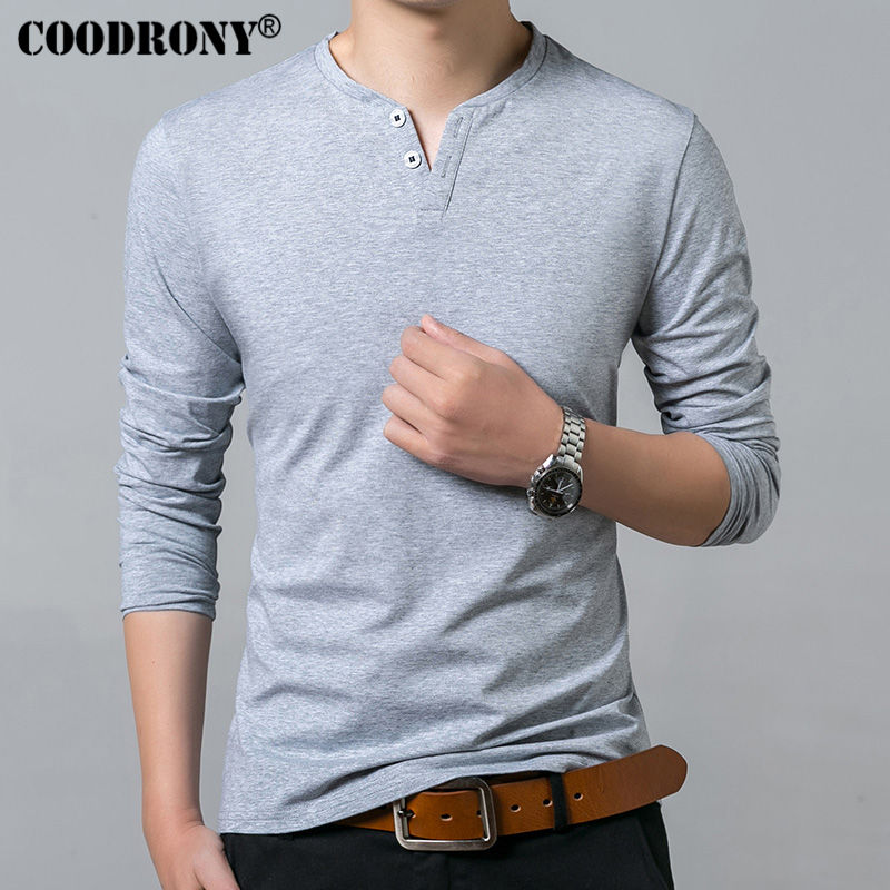Coodrony T-shirt Men Spring Autumn New Long Sleeve Henry Collar T Shirt Men Brand Soft Pure Cotton Slim Fit Tee Shirts 7625 #6