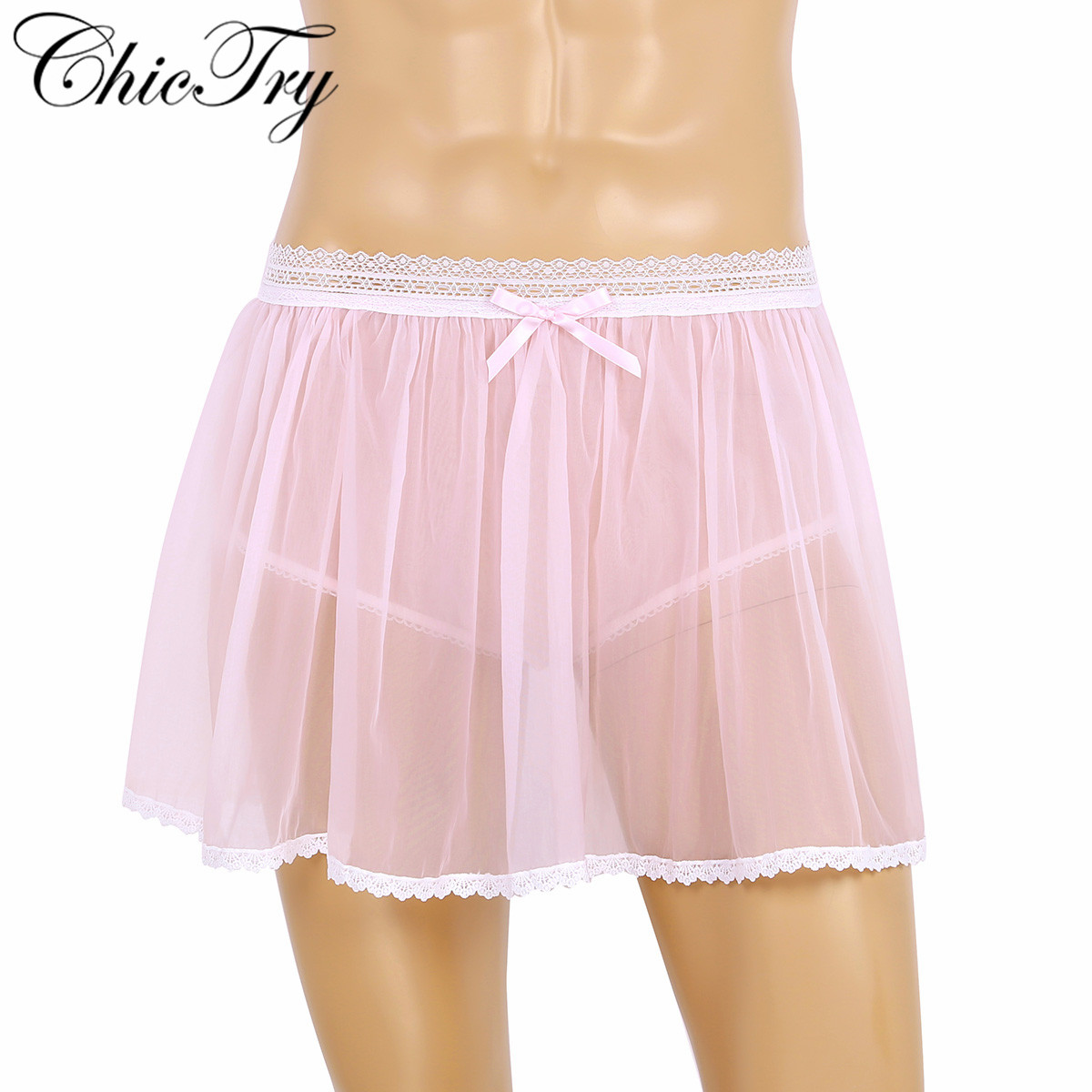 <font><b>Sexy</b></font> Male <font><b>Mens</b></font> Adults <font><b>Lingerie</b></font> Elastic Lace Waist See Through Sheer Ruffled Sissy Crossdress Short Mini Skirt Tulle Panties image
