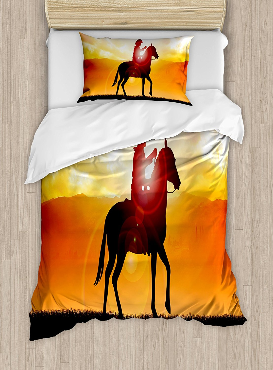 Western Duvet Cover Set Silhouette Cowboy Riding a Horse During Vibrant Sunset Sky Americana Landscape 4 Piece Bedding Set