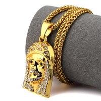 NYUK männer Schmuck Iced Out Bling Jesus Kopf Gold Farbe Anhänger halskette Hip Hop Kette Crytal Frauen Männer Mit Schöne Gif Box