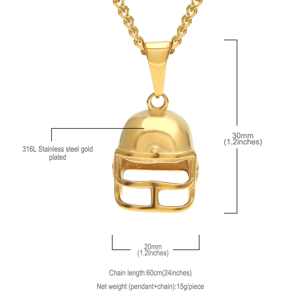 Uwin Hiphop Golden American Football Helmet Pendant Necklace Stainless Steel Gold Color Rugby Ball Sport Fashion Jewelry For Men