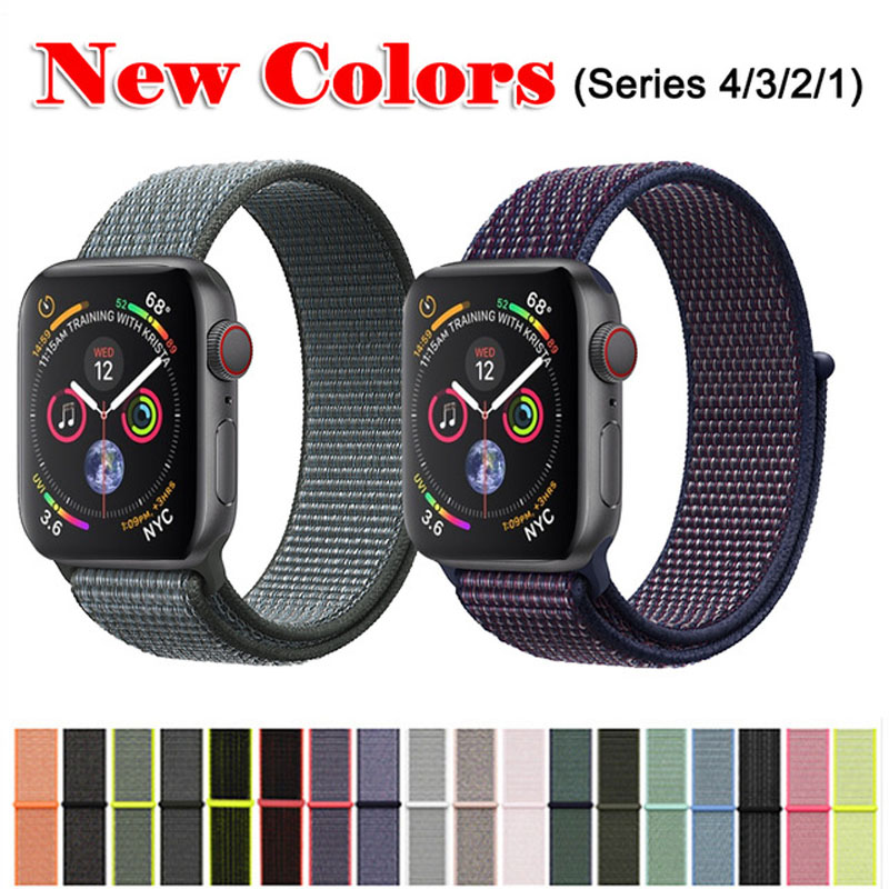 Nylon Watch Band For Apple Watch Strap 4&3&2&1 38mm 42mm Breathable Replacement Strap Sport Loop For Iwatch Series 4 40mm 44mm