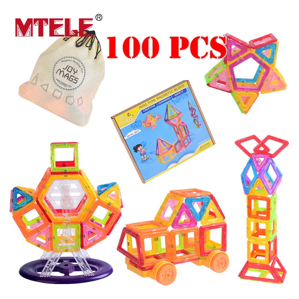 MTELE Brand Toy Mini Magnetic Designer Building Blocks Magnet 80/90/100 Blokcs Creative Bricks 3D Learning Educational Designer mtele brand magnetic designer 68 89 pcs magnetic building in blocks brick toy education educational for toddlers baby kid toy