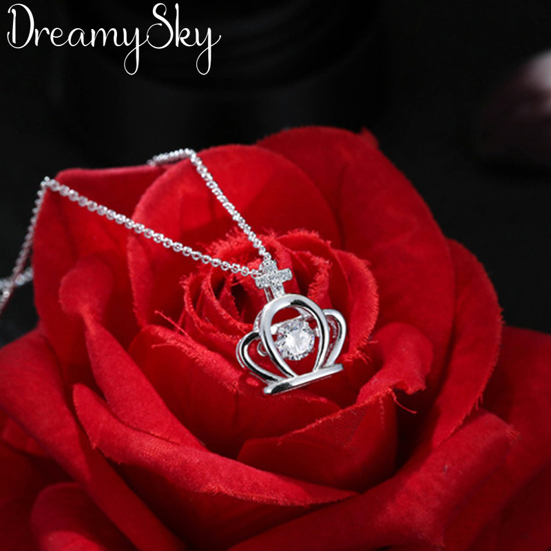 DreamySky Real 925 Sterling Silver Long Zirconia Crown Necklaces For Women Jewelry Pure Silver Choker Necklace Kolye Collares