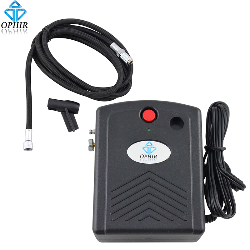 OPHIR 100V-250V Mini Air Compressor With Airbrush Holder Can Work With Battery For Airbrushing Hobby Nail Temporary Tattoo_AC034
