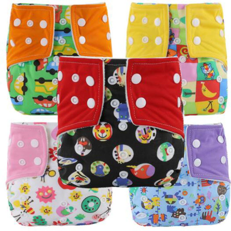 Washable Diapers Leak-proof Snap Baby Diaper Cover Wrap Cartoon Print Nappy Changing Reusable Adjustable Size Baby Cloth Diapers