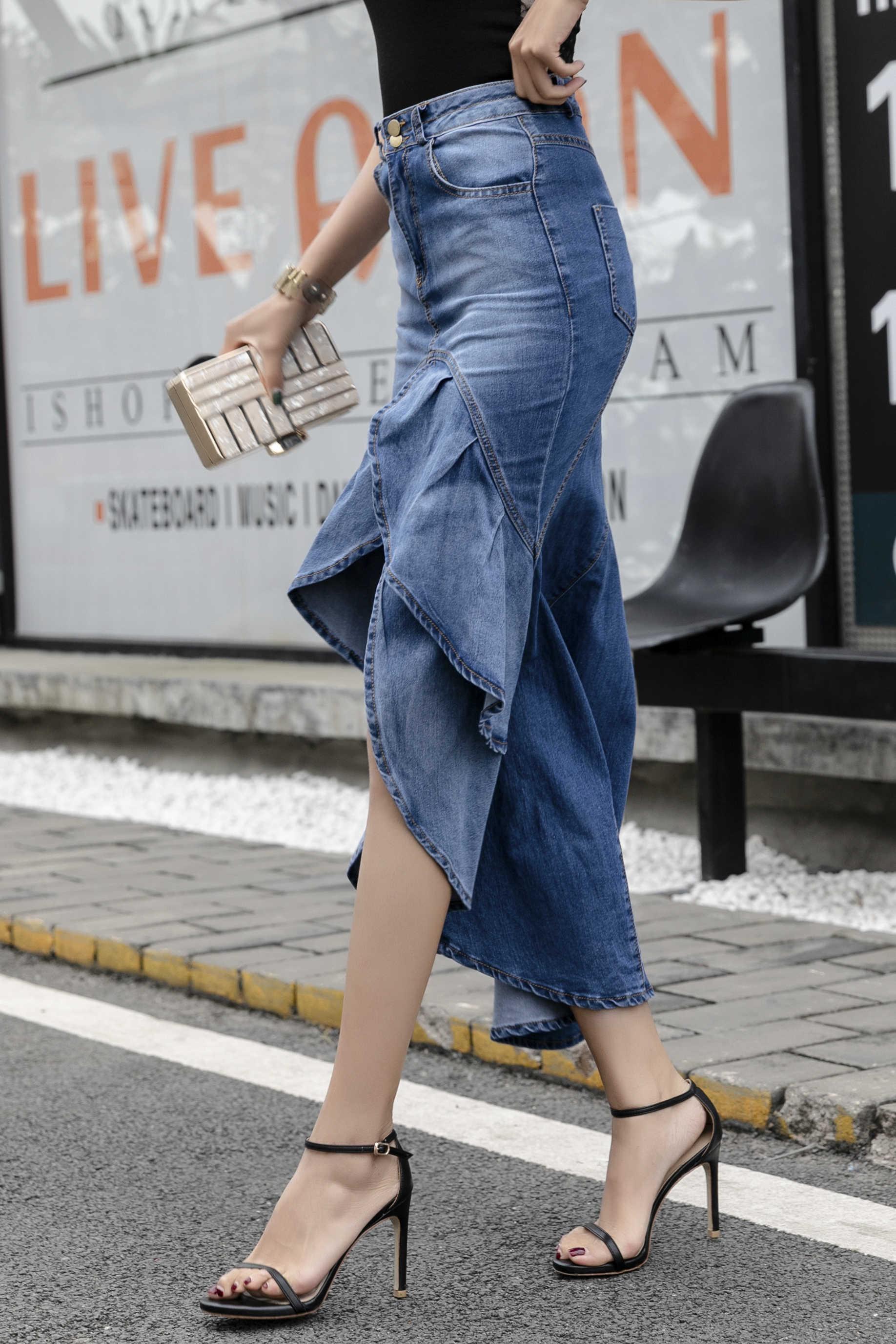 Женская длинная джинсовая юбка высокая талия кисточка с градиентом джинсы труба крутой рыбий хвост Русалка Богемские юбки макси русалка юбки женские