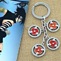 FD4581 new Japanese Naruto Metal Kakashi Syaringan Pendant Keyring Chain Ring Gift