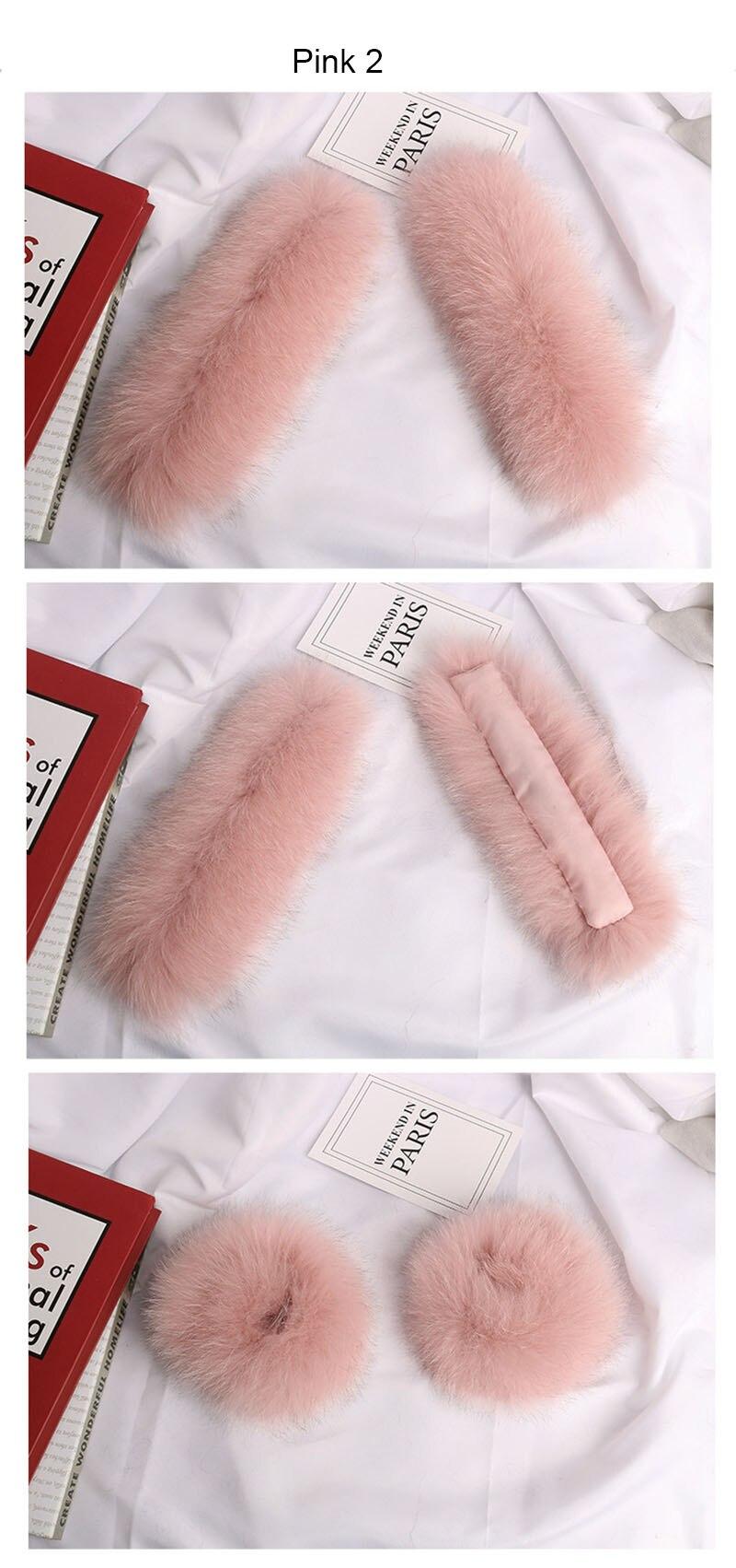 fox fur slap cuffs color pink 2