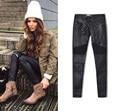 Senhoras Esticar Jeans Skinny Sensuais Das Mulheres Cintura Alta Slim Fit Denim Calças Slim Jeans Reta Motociclista Jeans Skinny com zíper