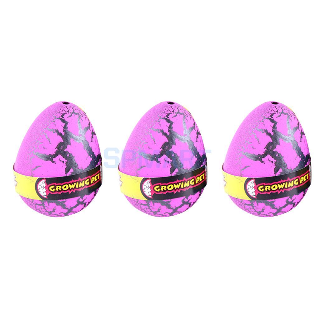 3 Pcs Colorful Funny Magic Dinosaur Eggs Hatching Dino Pets Hatch-Grow Children Toy