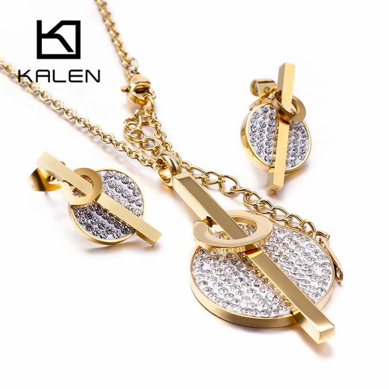 Kalen Acero Inoxidable Joyeria Mujer Zircon Earrings Necklace Sets For Women Stainless Steel Jewelry Sets Wedding Jewellery
