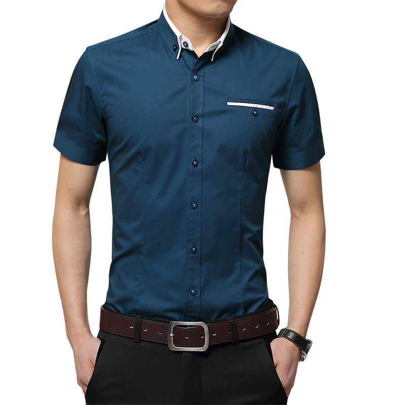 M-5XL 2019 New Fashion Mens Short Sleeved Shirt Solid Casual Shirt Men Bussiness Dress Shirts  Chemise Homme Camisa Masculina