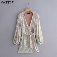 CHBBLF women part sequined mini dress cross V neck bow tie long sleeve female dresses vestidos ZSZ390