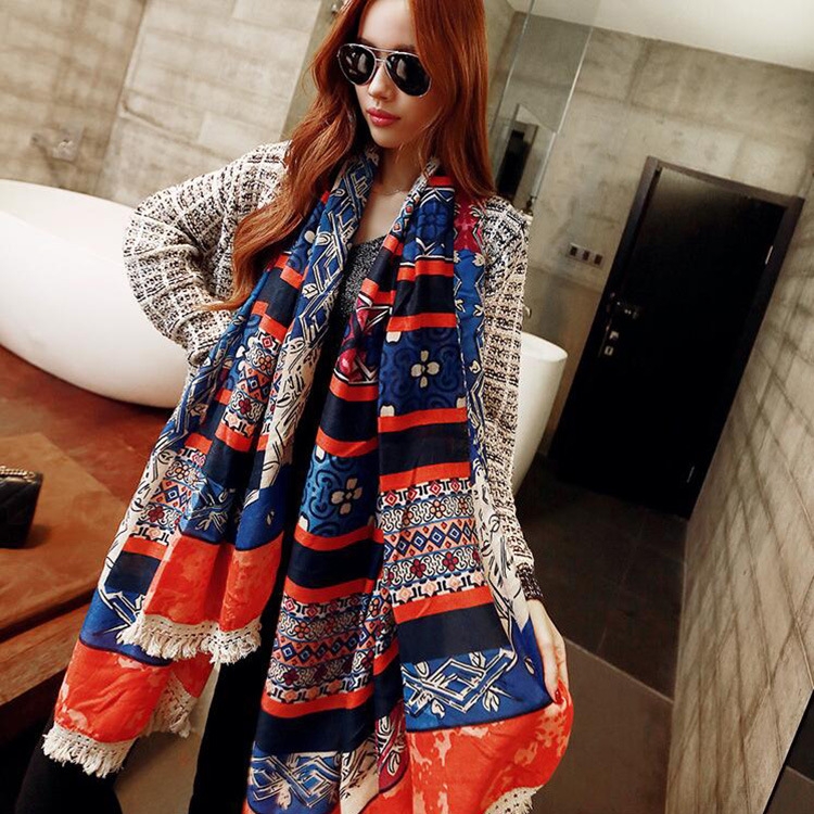 New winter scarves popular Nepalese national wind printing cotton oversized Variety warm scarf