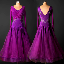 High quality skirts ballroom dancing expansion bottom one-piece dress skirt ballroom tango waltz dance dress purple blue dress