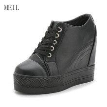 Купить с кэшбэком Black Whiter Platform Sneakers 11CM Hidden Wedge Platform Shoes Women Sneakers Casual Shoes Woman Footwear Chaussure Femme