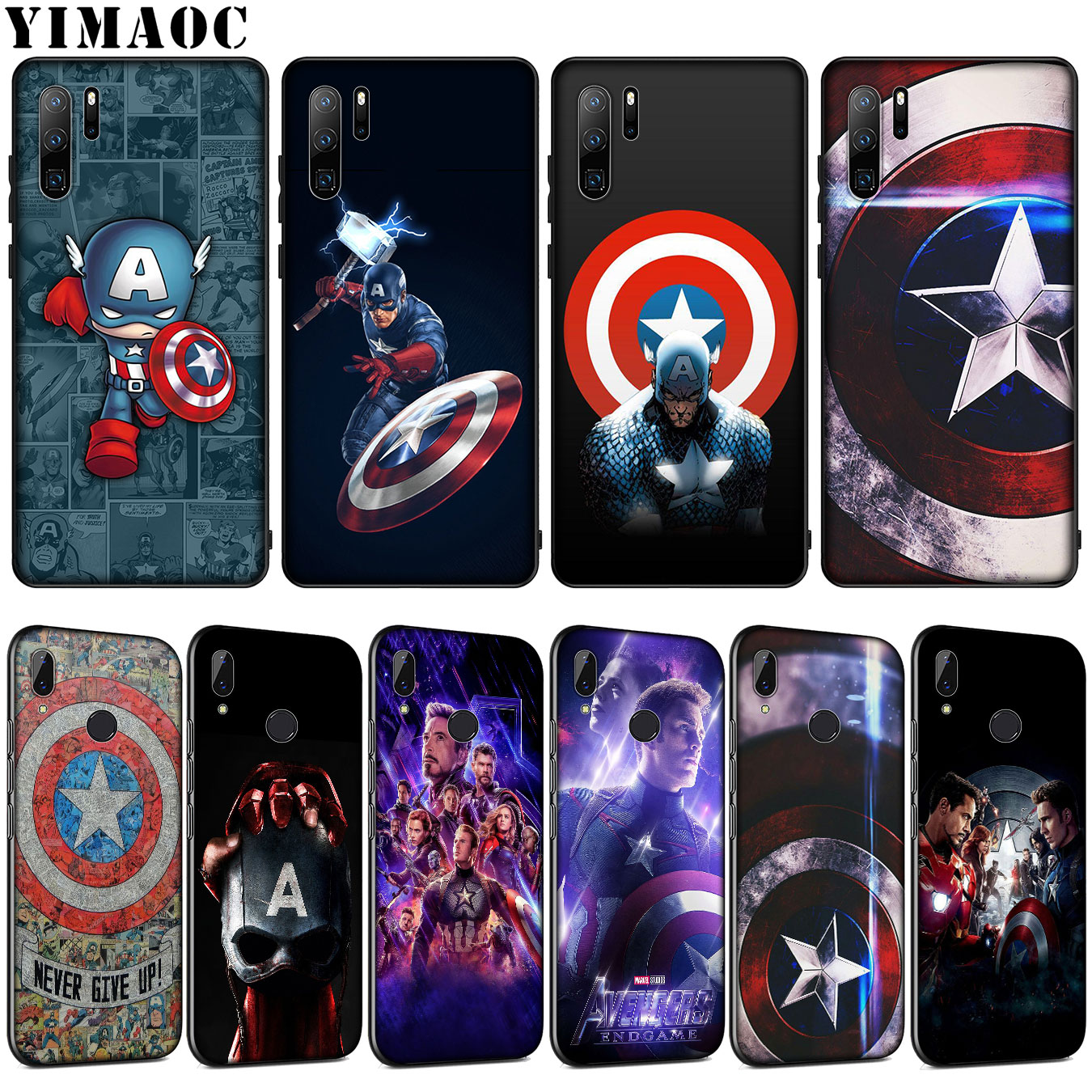 YIMAOC <font><b>Marvel</b></font> Captain America shield Soft Silicone Case for <font><b>Huawei</b></font> P30 P20 Pro <font><b>P10</b></font> P9 <font><b>Lite</b></font> Mini 2017 2016 <font><b>Cover</b></font> P Smart Z 2019 image