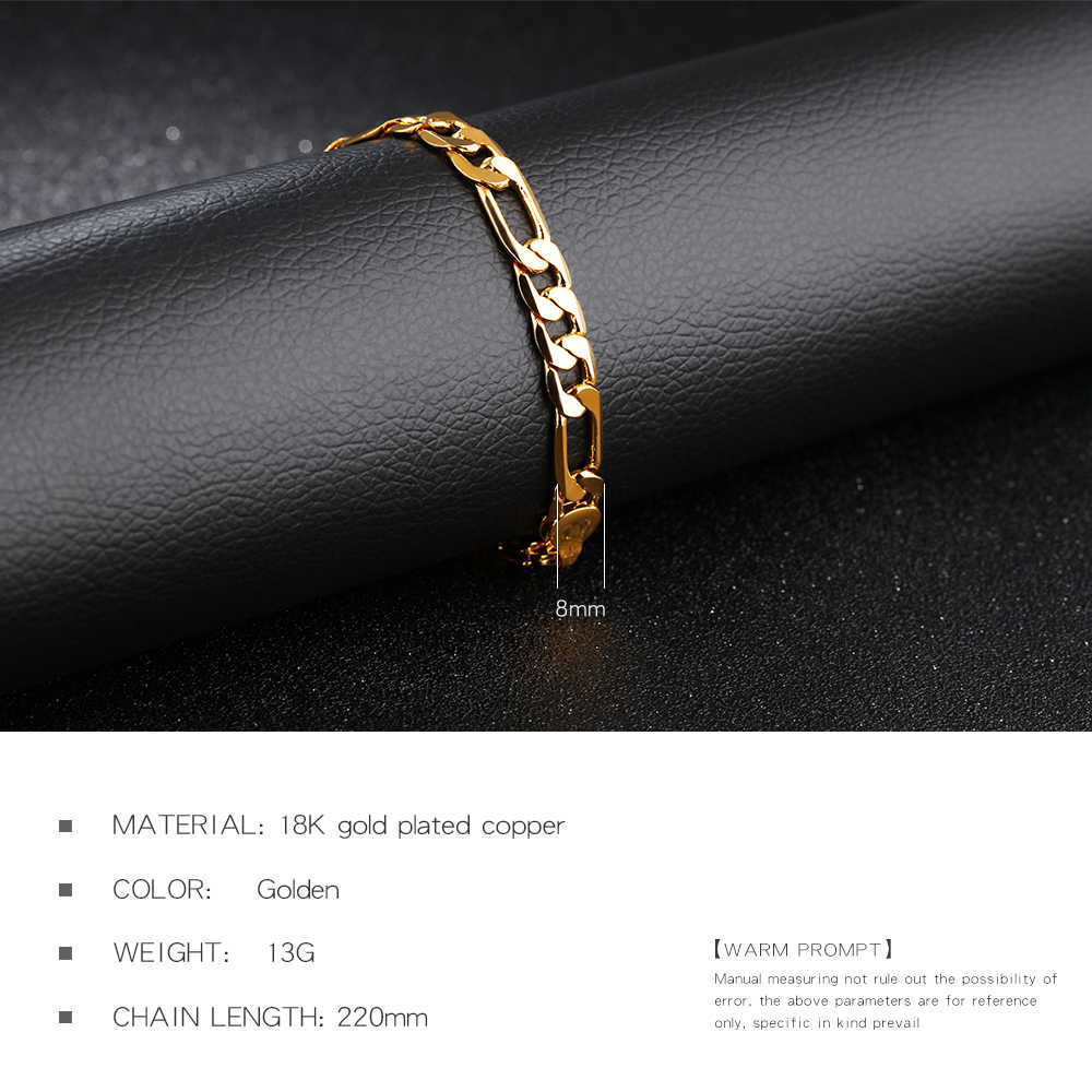 fd568381eb ... OPK 7mm 21cm Men's Bracelet New Trendy Gold Color Figaro Stainless  Steel Chain Fashion Jewelry Gift ...