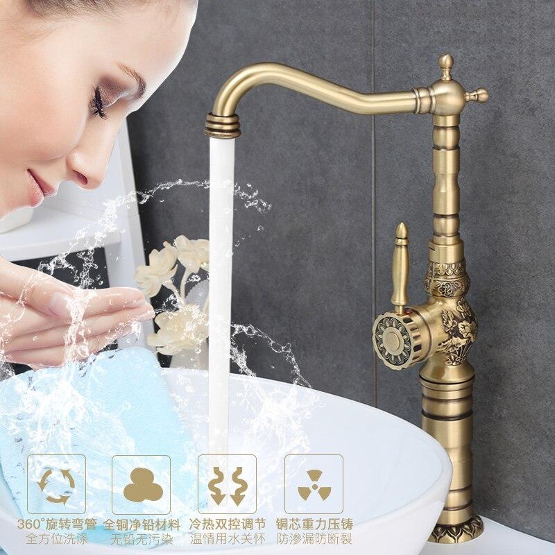 Смеситель для умывальника античная бронза латунь Ванная комната раковина кран 360 градусов Поворотный Двойной ручка Кухня смеситель для умы