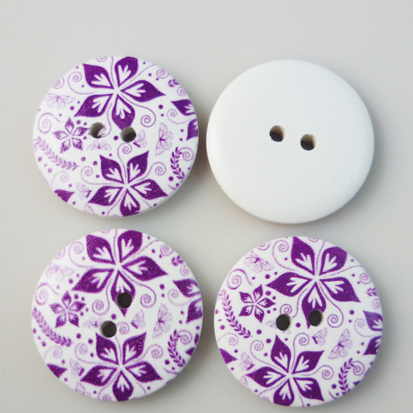 20PCS 30MM purple flower painting wooden buttons coat boots sewing clothes accessories MCB-206