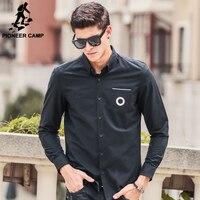 Pioneer camp áo sơ mi nam 2017 chất lượng hàng đầu new nhãn hiệu clothing t Nam Áo Thời Trang Quan Hệ Nhân Quả Dài Tay màu đen Sơ Mi nam 611506