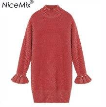 Nicemix 2018 элегантный Платья-свитеры Для женщин жемчуг Бисер Свободные толстый Пуловеры для женщин Женский мохер вязаный Платья для женщин Femme Vestidos