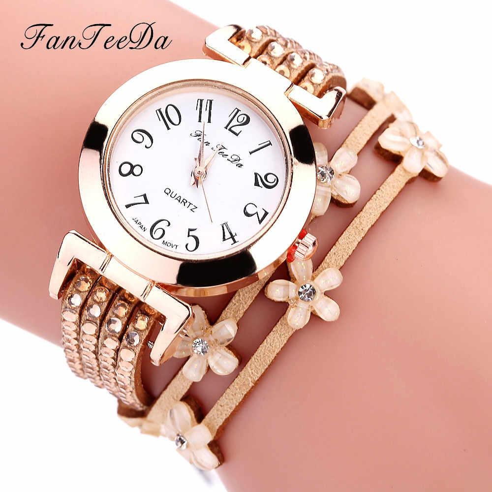 2019 Hot Women Flowers Design Watch Bracelet Leather Band Winding Analog Quartz Movement Wrist Watch Dress Reloj de dama Wd3sea2