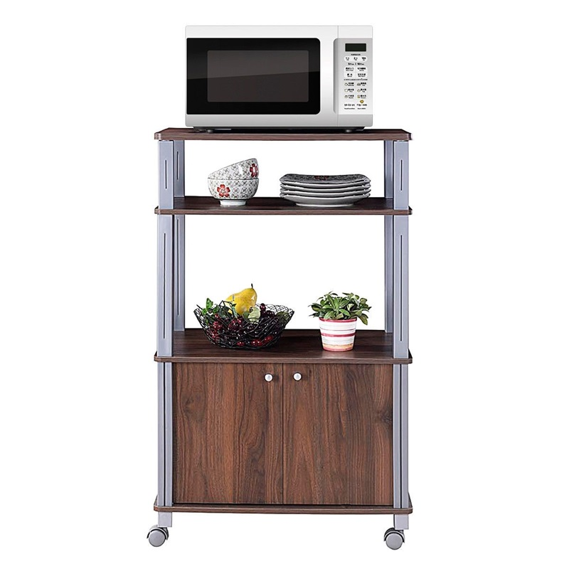 Bakers Rack Microwave Stand Rolling Storage Cart with Wheels 3 Shelves 2-door Cabinet Waterproof P2 MDF Kitchen Cart HW60180