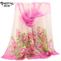 2015 scarf thin chiffon silk scarf flowers spring and autumn accessories women's Gradient Color summer sunscreen cape