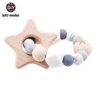Let'S Maken Houten Rammelaar Bijtring Baby Speelgoed Gegraveerd Hout Kralen Hexagon Bijtring Siliconen Kralen 12Mm Tiny Staaf Baby Wieg rammelaar 1