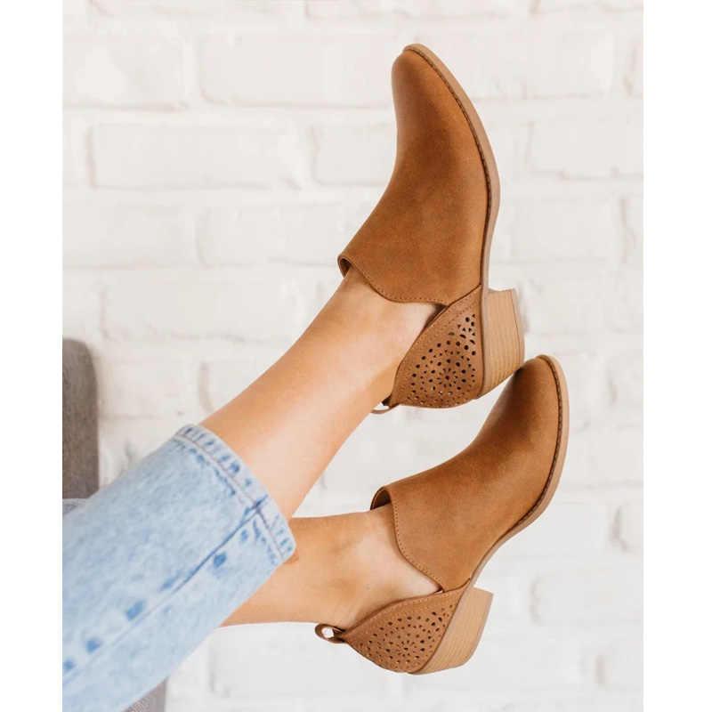LOOZYKIT 2019 été femmes chaussures rétro talon haut bottes femme sans lacet mi-talons décontracté Botas Mujer bottines Feminina taille 43