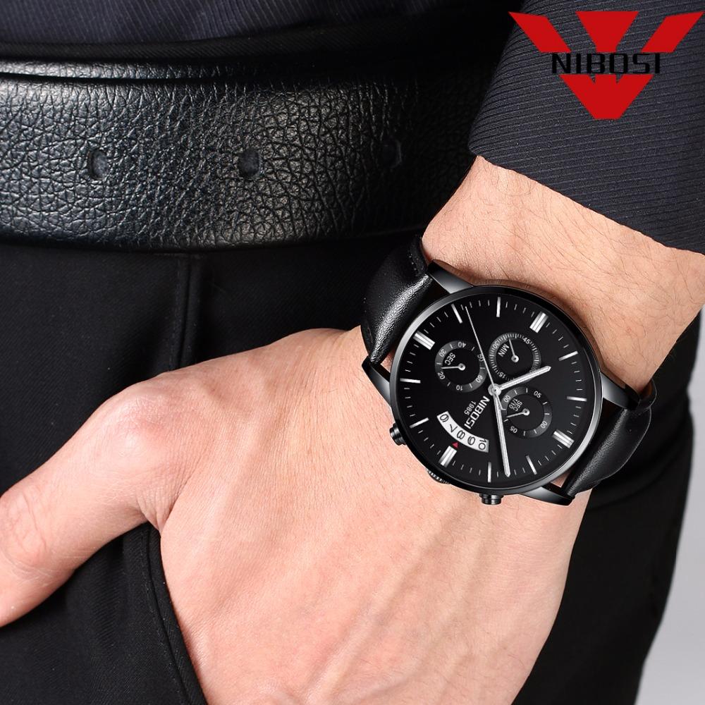 Relojes de hombre NIBOSI Relogio Masculino, relojes de pulsera de cuarzo de estilo informal de marca famosa de lujo para hombre, relojes de pulsera Saat 40