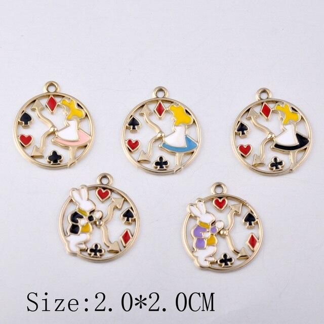 10pcs Handmade DIY Alice in Wonderland charms, poker playing card clock bunny rabbit pendants Round enamel Earrings accessories
