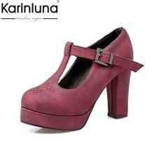 Karinluna/большой Размеры 34–43 пикантные женские сандалии-гладиаторы с Т-образным ремешком обувь на высоком квадратном каблуке Демисезонный Свадебные туфли-лодочки на платформе