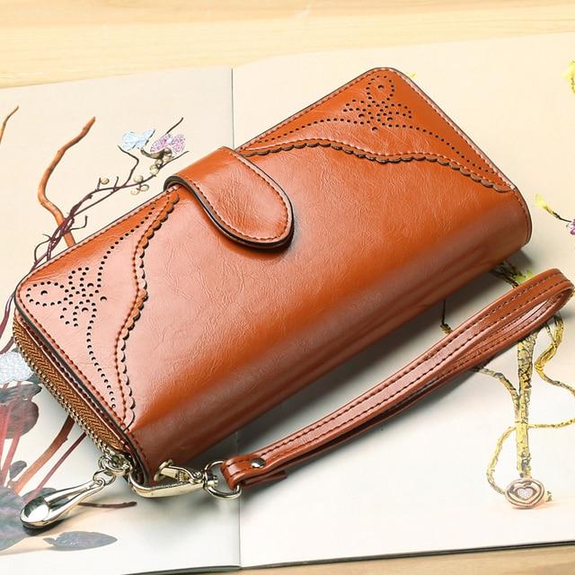 9bb0be08063c US $31.78 43% OFF|Elegant Women Wallet Fashion Lady Clutch Genuine Leather  Wallet For Women Large Long Wallet Women Phone Pouch Wrist Purse-in Wallets  ...