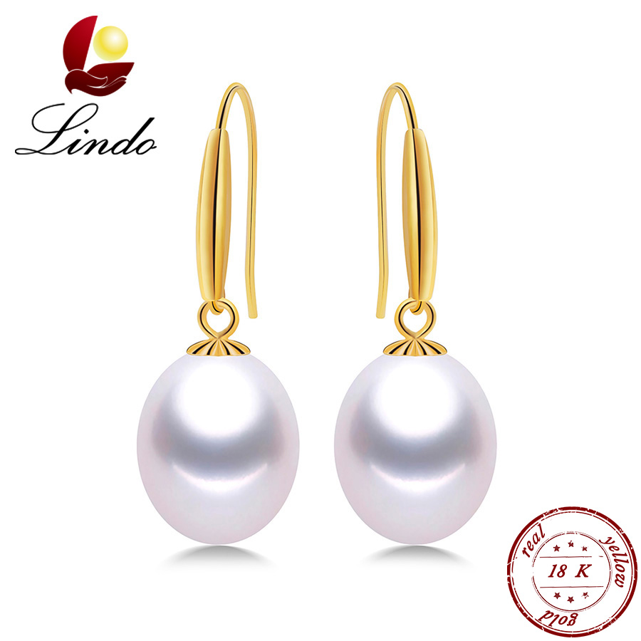 Lindo Top Quality Genuine Gold Drop Earrings Women Elegant 5A Natural Freshwater Pearl Jewelry 18K Gold