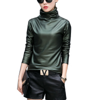 Harajuku Women T Shirt Sexy Long Sleeve Turtleneck Velvet T Shirt Female Tops Plus Size 4XL